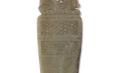 A LARGE CHINESE PALE-GREEN AND RUSSET JADE ARCHAISTIC BLADE, MING DYNASTY (1368-1644)