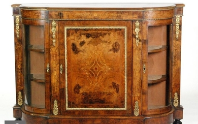 A Louis XIV style inlaid burr walnut credenza, the central p...