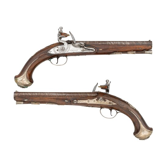 A PAIR OF 28 BORE IRISH SILVER-MOUNTED FLINTLOCK HOLSTER PISTOLS BY LEWIS ALLEY