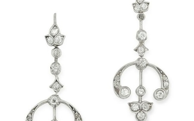 A PAIR OF DIAMOND CHANDELLIER EARRINGS set with round