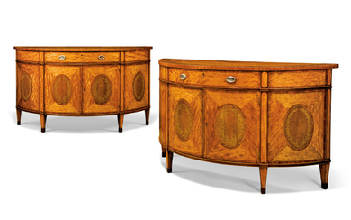A PAIR OF GEORGE III SATINWOOD, INDIAN ROSEWOOD, AMARANTH, TULIPWOOD-CROSSBANDED AND POLYCHROME-PAINTED COMMODES