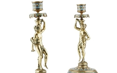 A PAIR OF MID/LATE 19TH CENTURY FRENCH CHAMPLEVÉ CANDLESTICK...