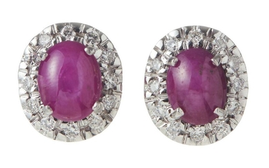 A PAIR OF STAR RUBY AND DIAMOND EARRINGS