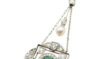 A PEARL, EMERALD AND DIAMOND PENDANT NECKLACE The