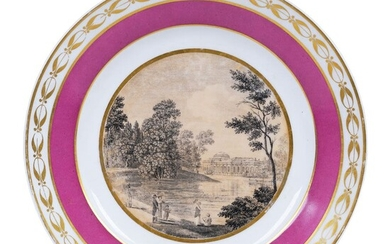 A PORCELAIN PLATE WITH ST PETERSBOURG SCENERY