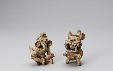 A PRE COLUMBIAN TERRACOTTA EWER AND WORSHIPPER FIGURE...