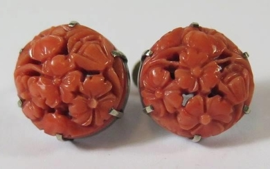 A Pair of Chinese Floral Carved Screw Back Earring mounted i...