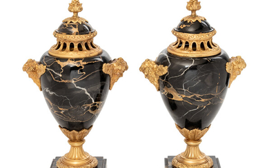 A Pair of Louis XV Style Gilt Bronze Mounted Marble Covered Urns