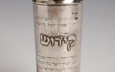 A STERLING SILVER COVERED KIDDUSH CUP. Probably Israel