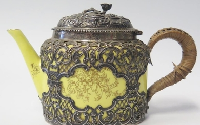 A Victorian Silver Mounted Crown Staffordshire Teapot, the p...