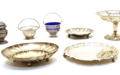 A collection of silver and silver plate