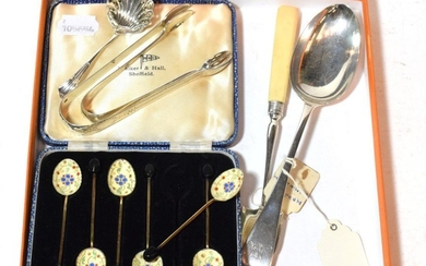 A collection of silver, including: a George III silver-mounted ivory...