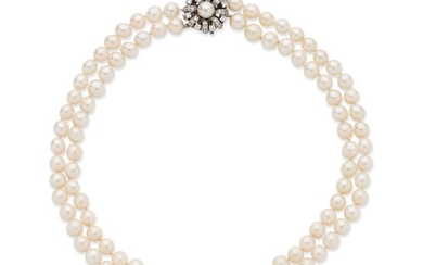 A cultured pearl necklace with a cultured pearl and diamond clasp