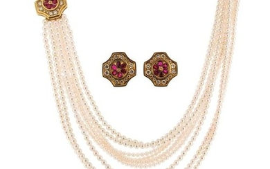 A cultured pearl necklace with gem-set clasp and...