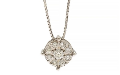 A diamond pendant set with nine brilliant-cut diamonds totalling app. 0.15 ct., mounted in 18k white gold, on an 18k white gold necklace. (2)