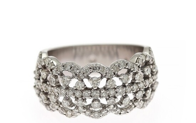 A diamond ring set with numerous brilliant-cut diamonds weighing a total of app. 1.17 ct., mounted in 14k white gold. Size app. 54.