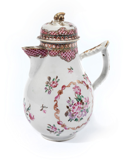 A famille rose porcelain coffee pot and cover