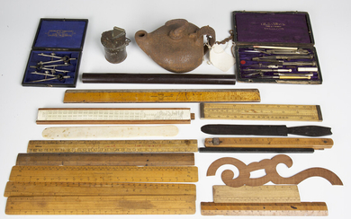 A group of mixed collectors' items, including a selection of technical drawing instruments, a s