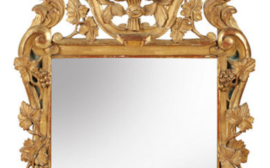 A late 19th/early 20th century French carved giltwood wall mirror