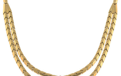 A mid 20th century 18ct gold fancy-link necklace.