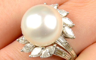 A mid 20th century cultured pearl and vari-cut diamond floral cluster ring.