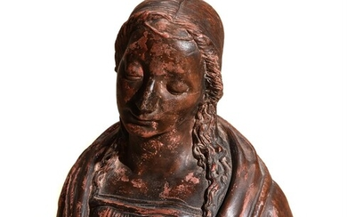 A painted plaster bust of a maiden in Renaissance style