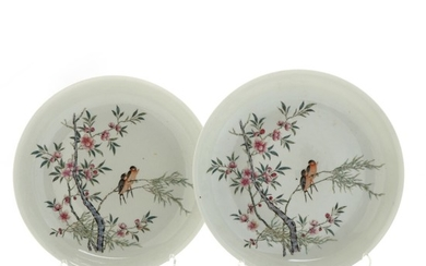 A pair of Chinese porcelain plates decorated in colours with birds on branches with berries and flowers. Marked Guanxu 1875–1908. Diam. 24,5 cm. (2)