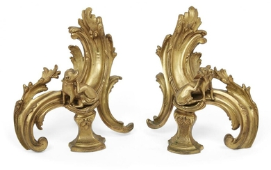 A pair of French Louis XV style ormolu chenets, 19th...