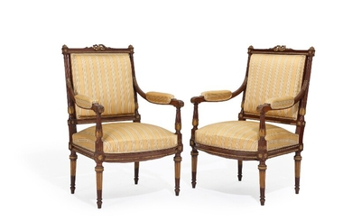"""NOT SOLD. A pair of French circa 1900 partly gilt mahogany Louis XVI style """"fauteuil..."""