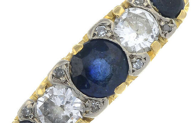 A sapphire and brilliant-cut diamond five-stone ring.