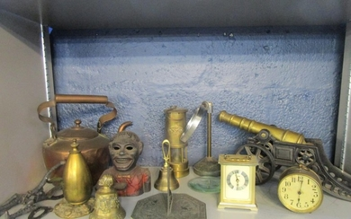 A selection of metalware to include a brass and iron model c...