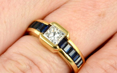 A square-shape diamond and calibre-cut sapphire dress ring, by Chaumet.