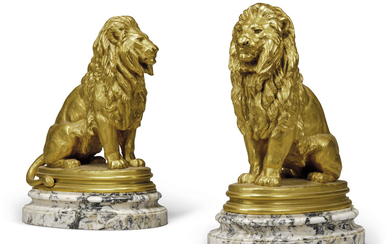 ANTOINE-LOUIS BARYE (FRENCH, 1795-1875), Two models of lions, entitled Lion assis (No 1)