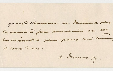 Alexandre Dumas Fils Signed Quote About the Nature of