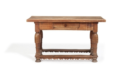An 18th century Baroque oak refectory table, apron with drawer. H. 81. L. 142. W. 65 cm.