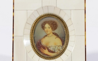 An Ivory Framed Handpainted Miniature Signed Mary (Frame Size 12.5cm x 14cm)