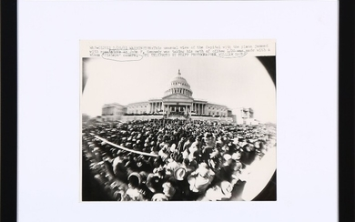 An original black-and-white press photograph from the inauguration ceremony of President John F. Kennedy on January 20th 1961.