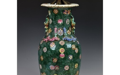 An unusual 19th century Chinese famille rose baluster vase, ...