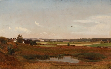 Anders Lunde: A view of a landscape with farms and a small pond in the foreground. Later signed with monogram. Oil on paper laid on canvas. 33×53 cm.