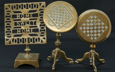 Antique Brass English Tip Top Miniature Tables