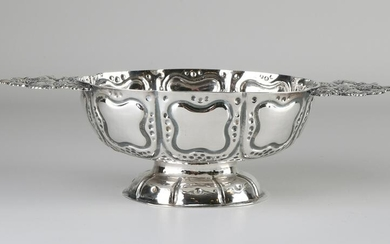 Antique silver brandy bowl, decorated with dots and