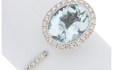Aquamarine, Diamond, White Gold Ring The ring features an...
