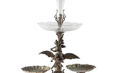 "Art Nouveau 30"" Gilt Metal & Etched Glass Epergne"