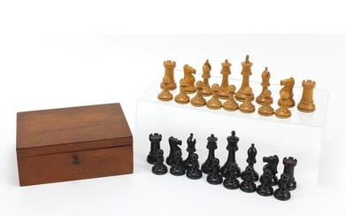 Boxwood and ebony Staunton chess set, possibly by Jacques, w...