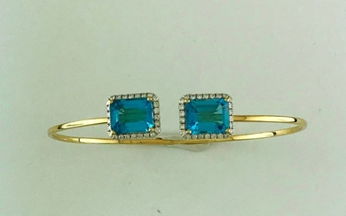 Bracelet opening bezel in gold 750°/°°° decorated with...