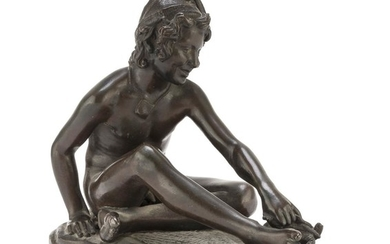 Bronze sculpture - representing EARLY 20TH CENTURY with burnished patina a pescatorello.