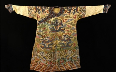 CHINESE EMBROIDERY NINE DRAGONS PATTERN TMPERIAL ROBE