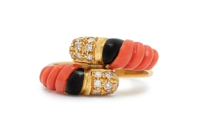 CORAL AND DIAMOND BYPASS RING