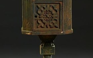 Cast Iron Mailbox, 20th/21st c., of house form with