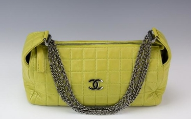 Chanel Green Quilted Leather Shoulder Bag Purse